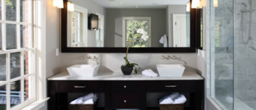 Beautiful Dark Wood Washroom with Travertine Floors