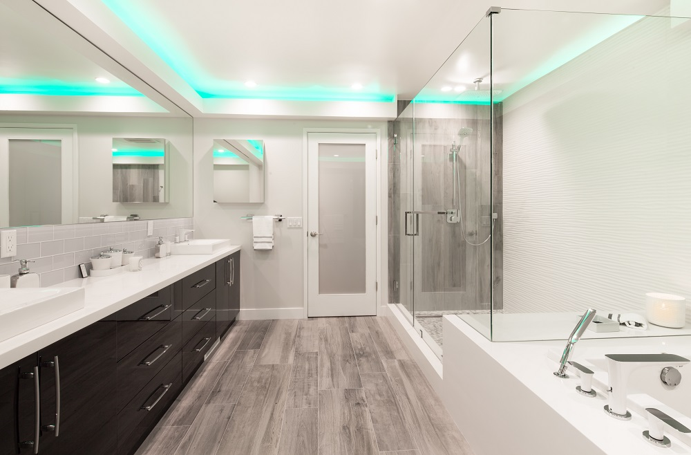 double sink vanity, medicine cabinet, tile frameless shower door